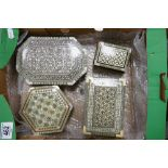 Four highly decorative inlaid wood and mother of pearl jewellery boxes: Largest measures 20cm x