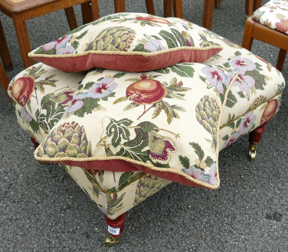 Modern Upholstered Pouffe Stool: with matching cushions