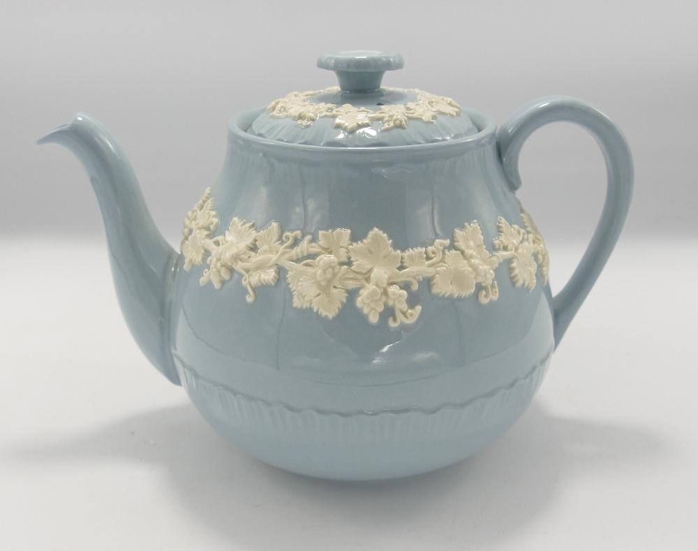 Wedgwood Queensware Embossed Teapot: height 15cm