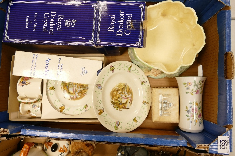 A mixed collection of item to include: Wedgwood Peter Rabbit Breakfast set(boxed), Sylvac Tree Stump