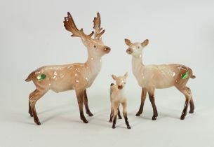 Beswick Stag family group: stag standing, doe and fawn.