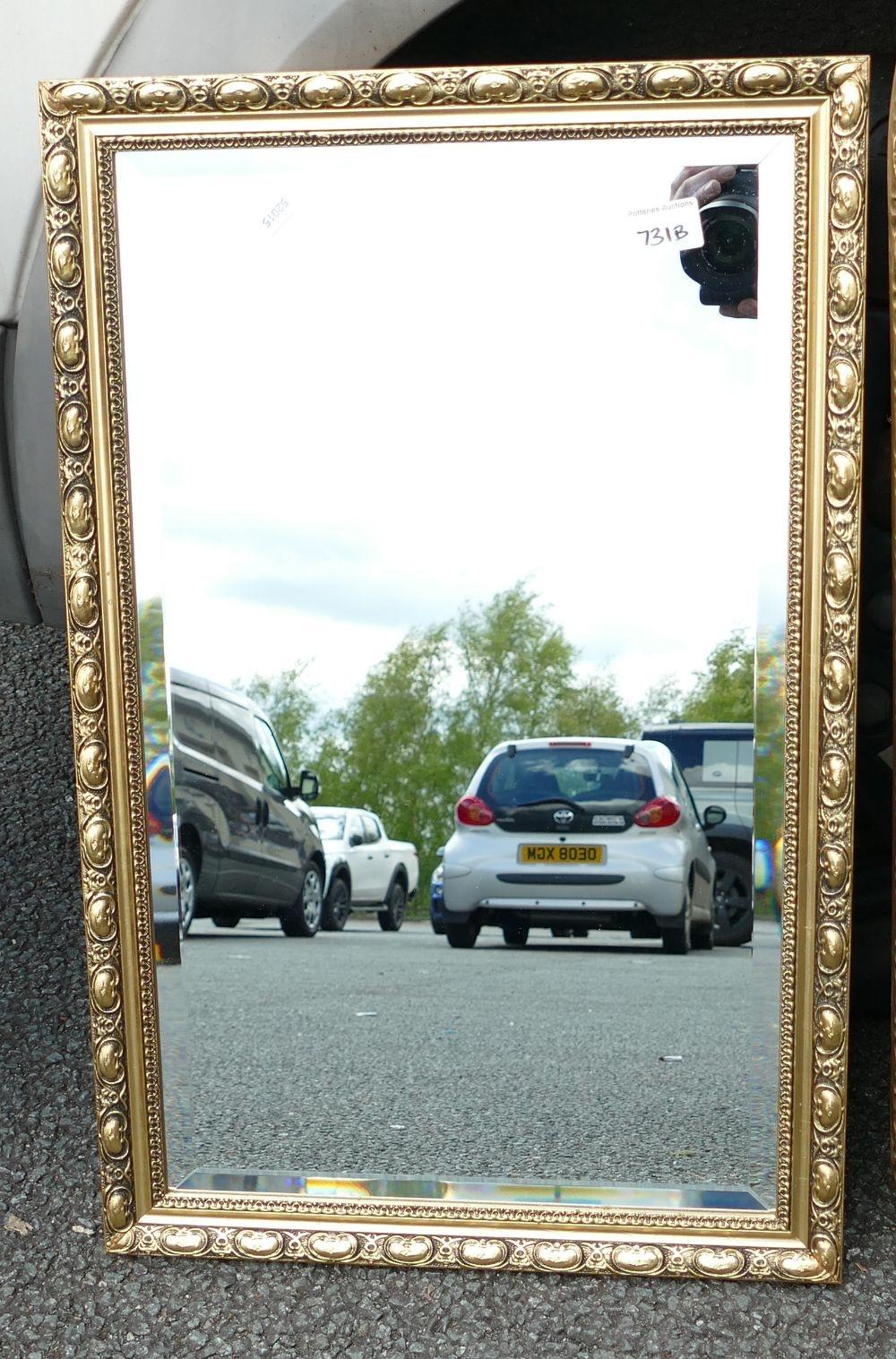Gilt Effect Bevel Edged Wall mirror: height 67cm