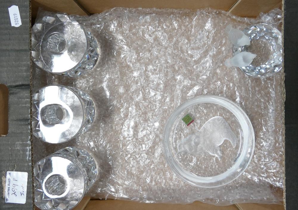 Glass items Orrefors candle holders Hoya and Swarovski: 3 x candle holders, Hoya Japanes RAM
