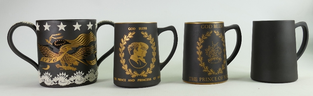 A collection of Wedgwood Black Basalt Tankards to include: Seconds American Bicentennial Loving Cup,