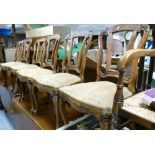 Six Victorian walnut framed dining chairs on cabriole legs: In need or re upholstery.