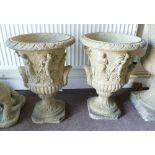 Pair Devonshire ornate Grecian style garden urns: h57cm. (2)