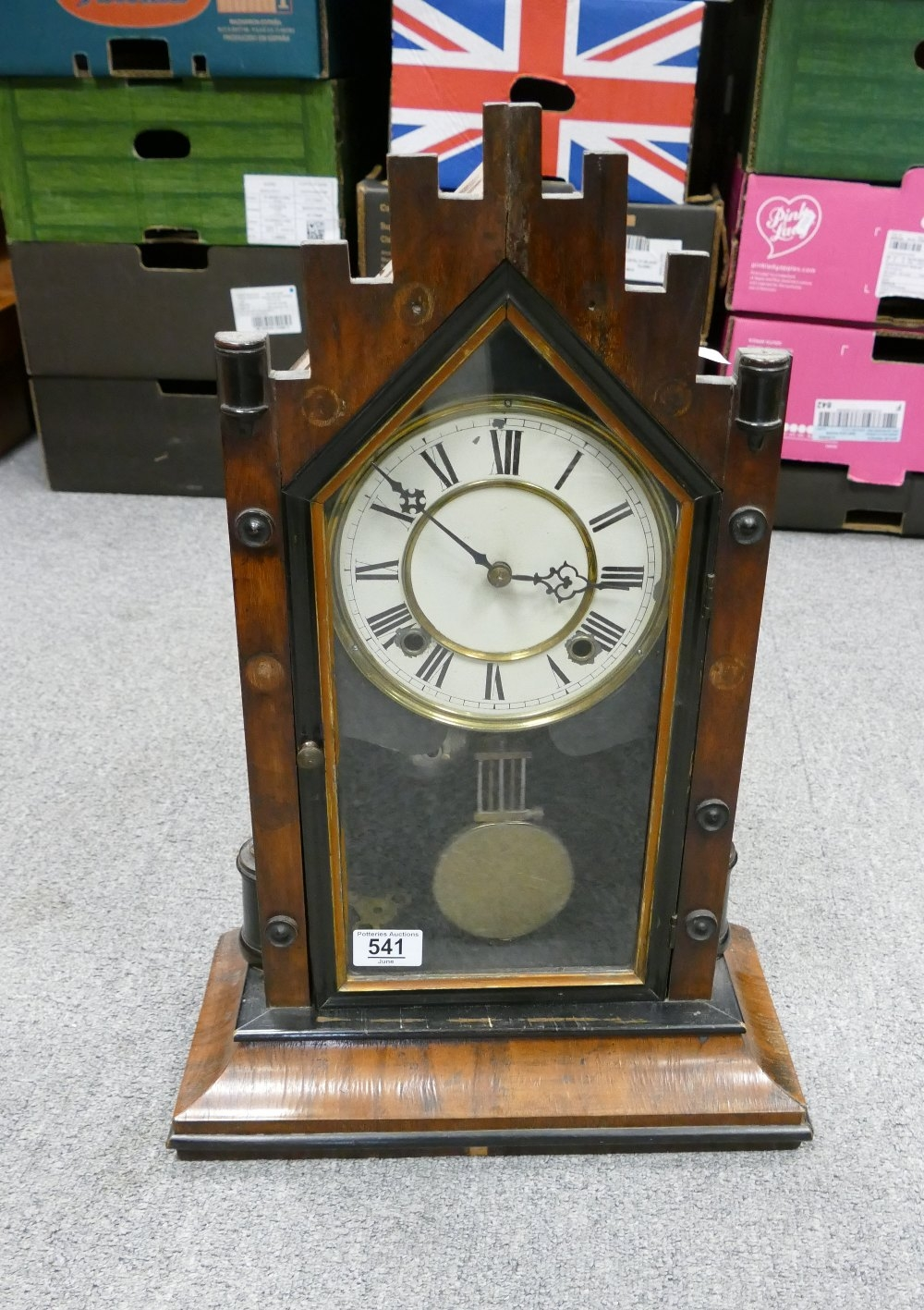 Early 20th Century Wooden Cased Mantle Clock: height 54cm - Image 3 of 3