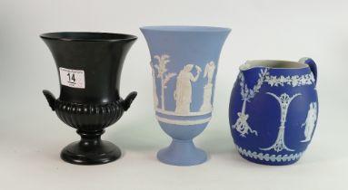 Wedgwood Dip Blue Jasper Ware Jug: together with lighter Vase & black Urn, height of tallest 18.