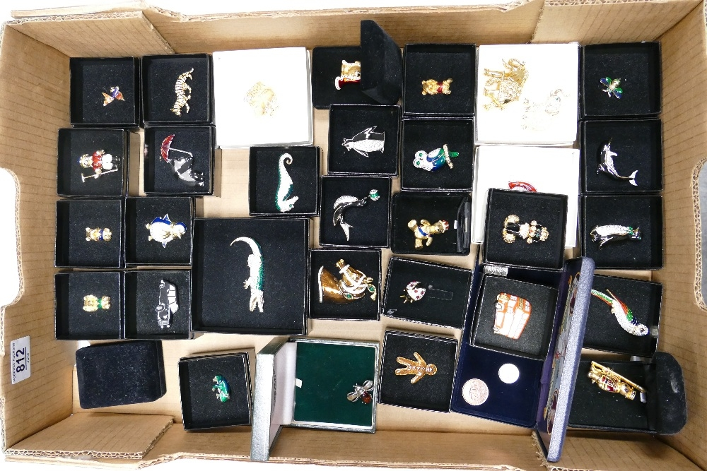 A collection of Enameled & Jeweled Costume Jewelry Booches: with animal, fish & novelty theme