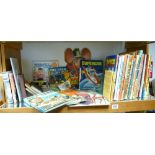 A collection of Children's Vintage Annuals & Hard back books including: Beano, Topper, Victor,