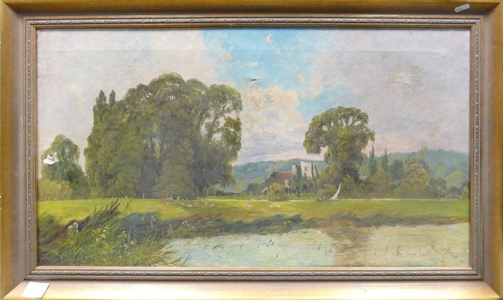H Herring, Oil painting on canvas of Medmenham Abbey Nr Marlow: 80 x 46cm in gilt frame. (3