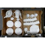 A large collection of floral Queens China branded tea & coffee ware: 46 pieces in 2 trays