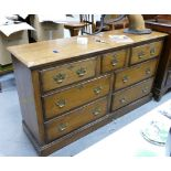 Large low oak chest of drawers 20th century: Measuring 170 cm wide x 91 cm high x 51 cm deep appx.