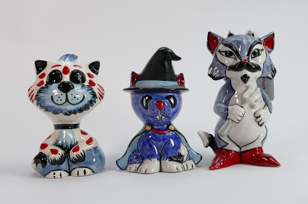 Three x Lorna Bailey cats: Includes devil, witch and 1 other (3)