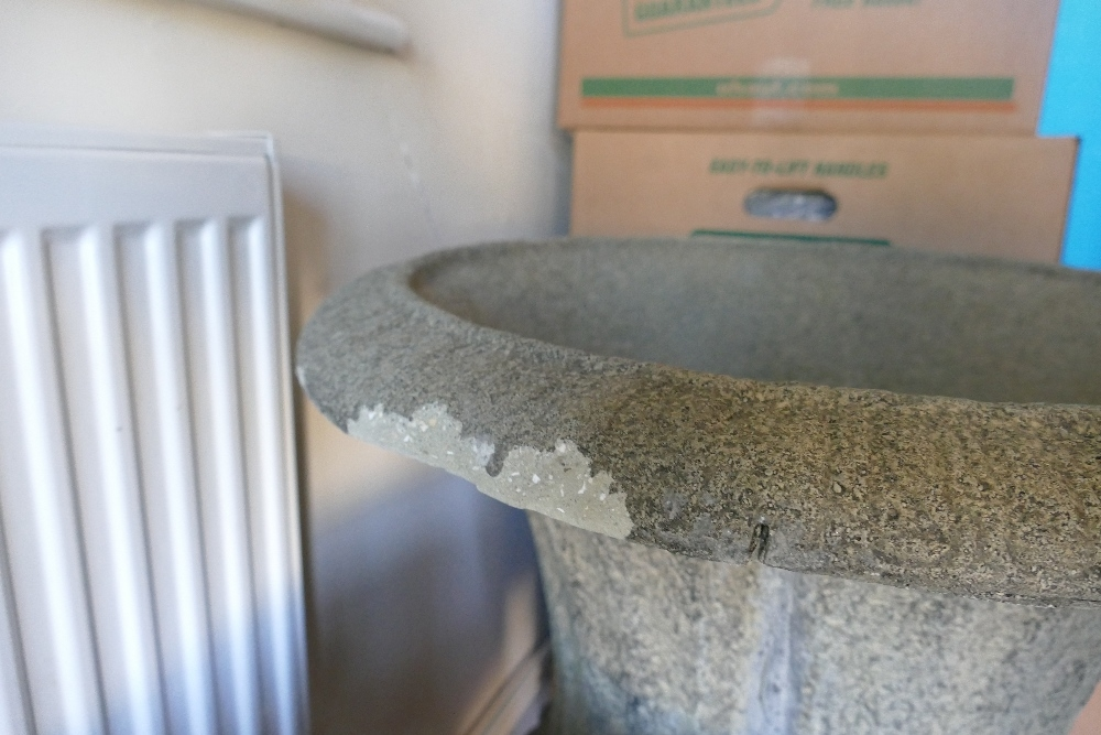 Antique style cast Stone large garden urn: D59 x H75cm. (couple small chips to base edge and minor - Image 3 of 4