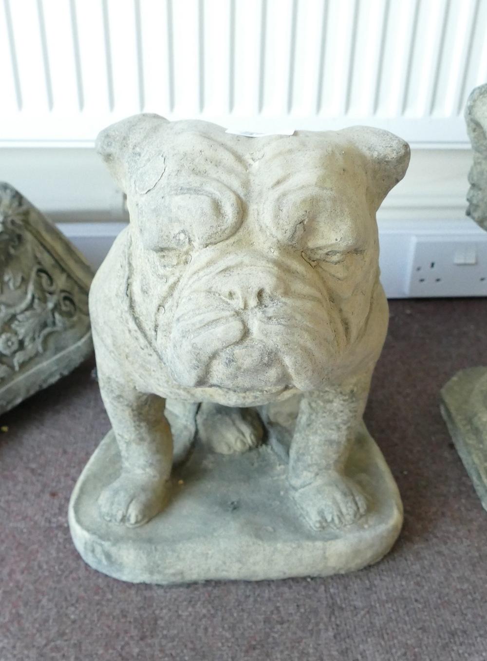 Devonshire Stone model of seated Bulldog, h40cm: