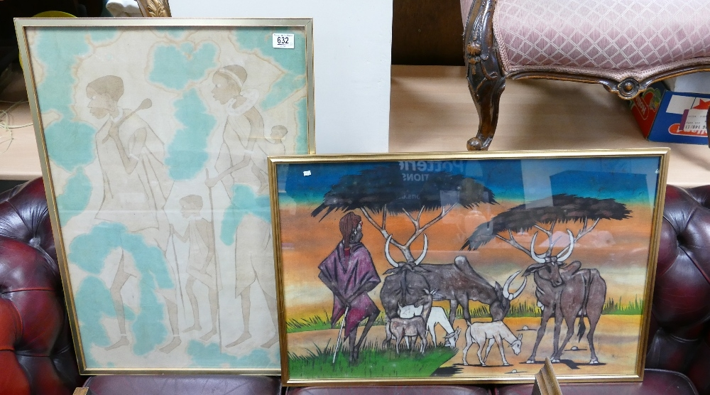 Two framed prints on fabric with African tribal theme: (2)