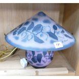 Decorative Glass Mushroom Type Table Lamp; height 34cm