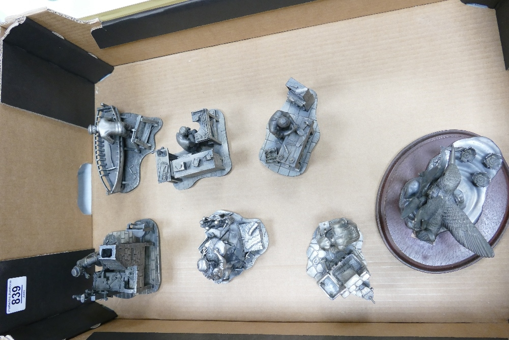 A collection of Large Heavy Evergreen Collection Pewter Figures to include: Chainmaker, Boatbuilder,