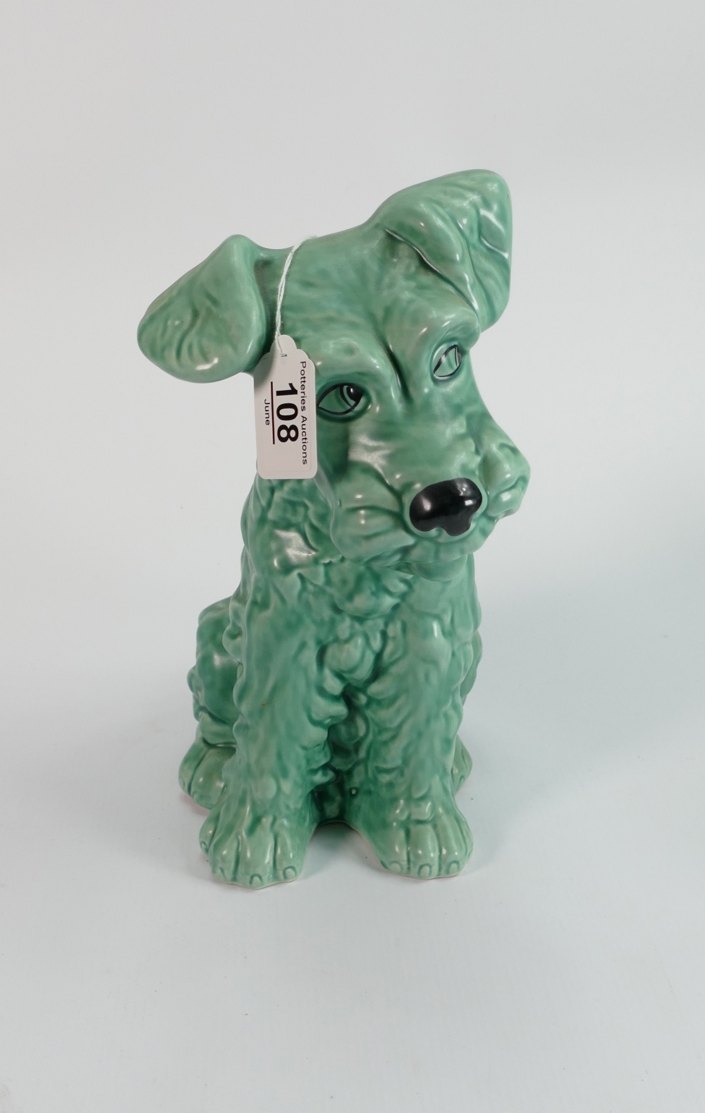 Large green Sylvac dog ref 1380: 29 cm high. - Image 2 of 2