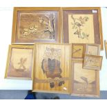 A collection of Framed Marquetry Wooden Pictures with Animal Theme,: largest 36 x 44cm(8)
