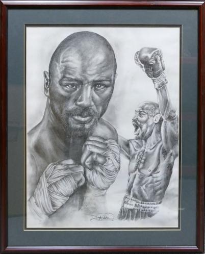 Darren Dean pencil drawing of boxer Marvin Hagler 56cm x 42cm.