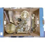 A mixed collection of brass items to include: horse brasses, ornaments, pans, stands etc