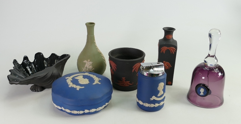 A collection of Wedgwood Multi coloured jasper ware to include: Coral on Black, Vase & Pot, Sage