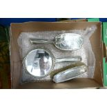 Chester silver mirror and brush set: Hallmarks for 1922. Good overall condition, the handle of the