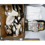 A mixed collection of items to nclude: Ladies Liberty Neck Scarf, lightly used Bally Shoes, clutch