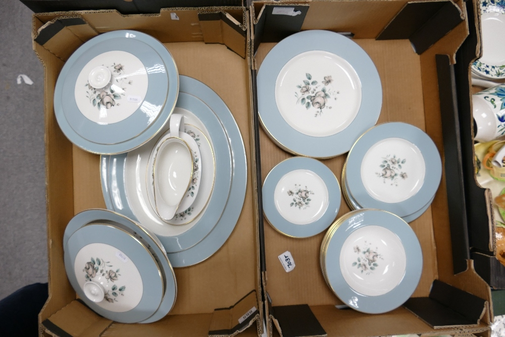 A collection of Royal Doulton Rose Elegans patterned dinnerware to include: tureens, platters,