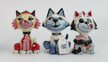 Three Lorna Bailey cats: One with fish, cheeky sheet & 1 other. Tallest 13.5 cm (3)