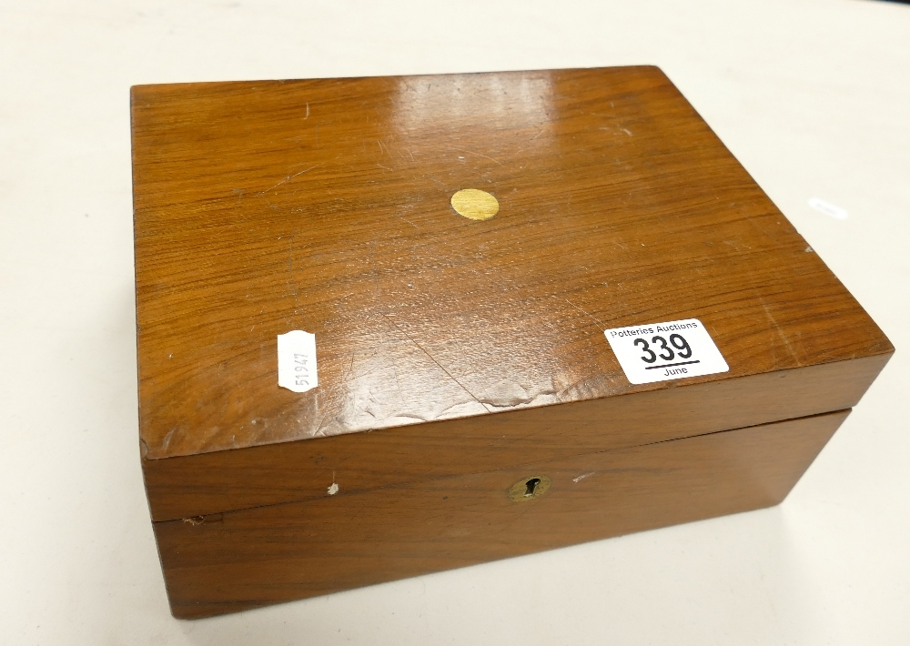 Edwardian Writing Slope / Box: with fitted leather interior, length 26cm, height 10.5cm, depth 20cm