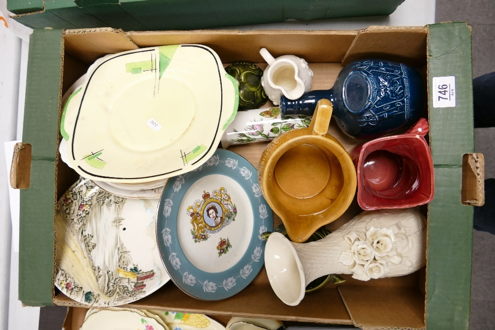 A mixed collection of items to include: decorative china plates, decanters, jugs etc