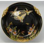 Carltonware fruit bowl decorated with enamelled flying mallard ducks: On black ground, diameter