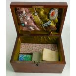Victorian walnut sewing box with assorted costume jewellery: Includes brooches, earring &