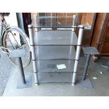 Apollo Glass & Chrome Hifi Stand & Speaker Stands(3):
