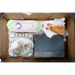 Tray lot of interesting items: Includes Francesca figure Glencora, Royal Winton celery dish (tiny