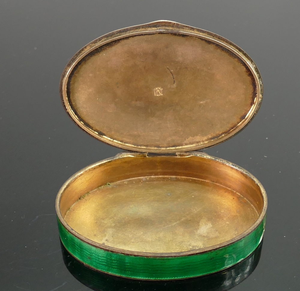Marius Hammer silver and guilloche enamel Norwegian snuff box: Damage to enamel front and side as - Image 2 of 3