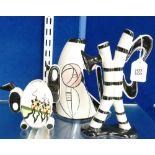 Three x Lorna Bailey items: Small tea pot marked Morton Parade, presumed missing lid, larger