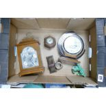 A mixed collection of items to include: Mahogany cased Mappin & Webb Elliot Mantle Clock, deco Short