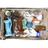Tray lot to include Wade Carlton ware Beswick Sylvac etc: Wade jug, Tetley tea man, boxed