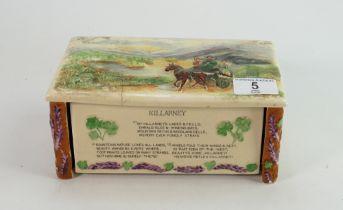 Crown Devon Feildings Musical Cigarette Box: Killarney hairline noted to lid, length 21cm