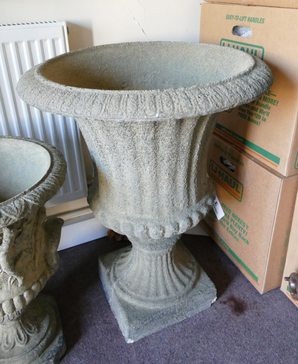 Antique style cast Stone large garden urn: D59 x H75cm. (couple small chips to base edge and minor - Image 2 of 4