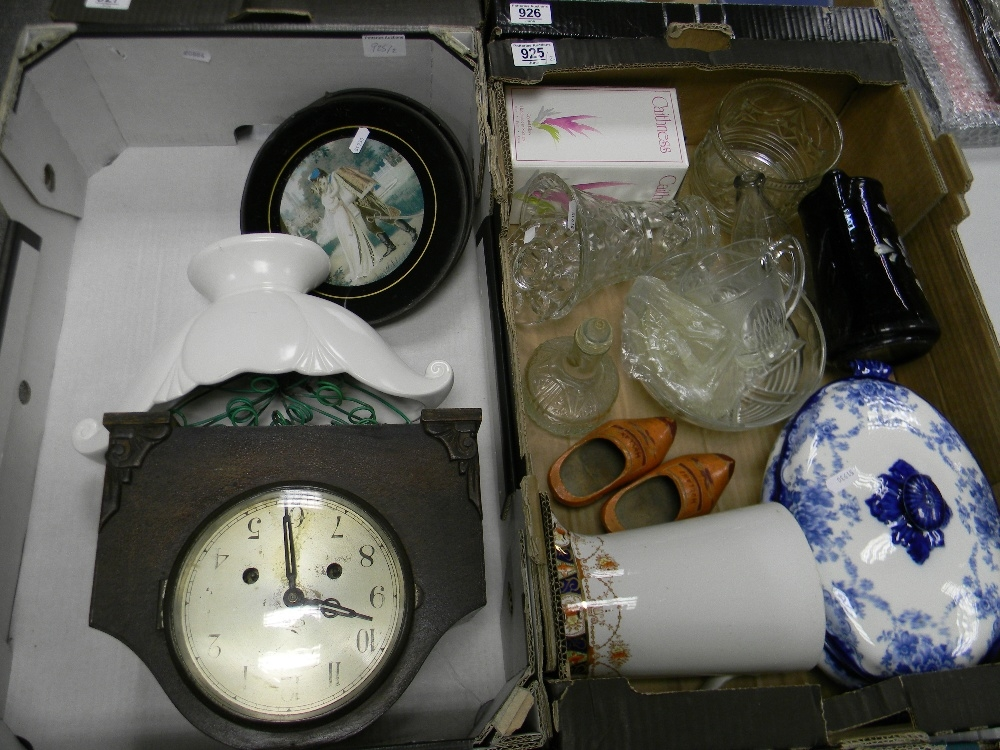 A mixed collection of items to include: early Blue & White Tureen, Glassware, Oak cased mantle clock