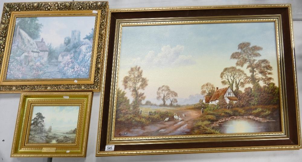 Large Framed David Scott Landscape Scene: together with two similar smaller items(3)