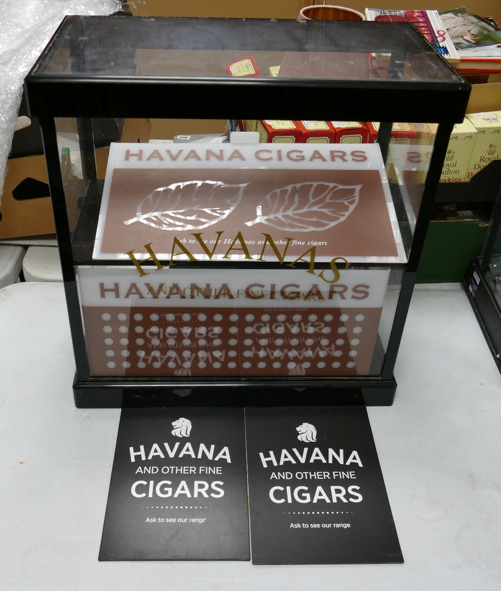 Havana Cigar Counter Top Display Cabinet: with addition signs & humidifiers, height 56cm, width 55cm