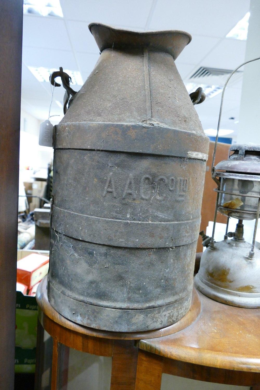 Antique Steel Milk Churn: marked A A C Co Ltd, height 52cm