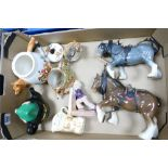 A mixed collection of items to include: Sylvac Horses, Novelty Tea Pots etc