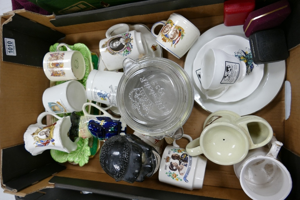 A mixed collection of items to include: commemorative Royalist pottery & Glass( local interest